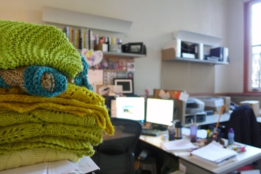 01.16.14   green hand-knits and a messy desk