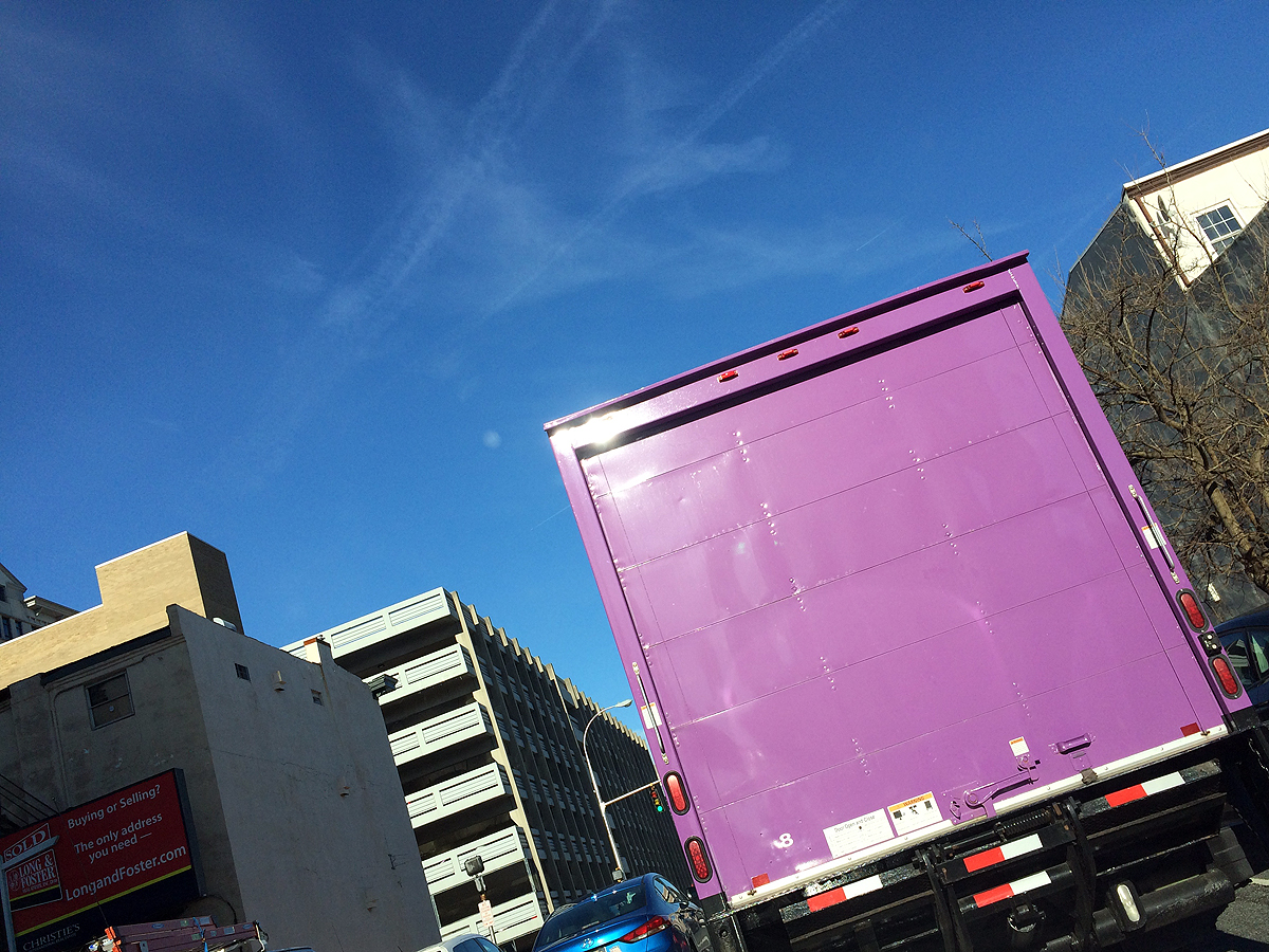 03.06.18 | giant purple truck and a bright blue sky